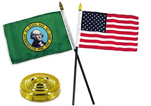 (Mikash Washington State w/USA America American Flag 4x6 Desk Set Gold Base | Model FLG - 3703)