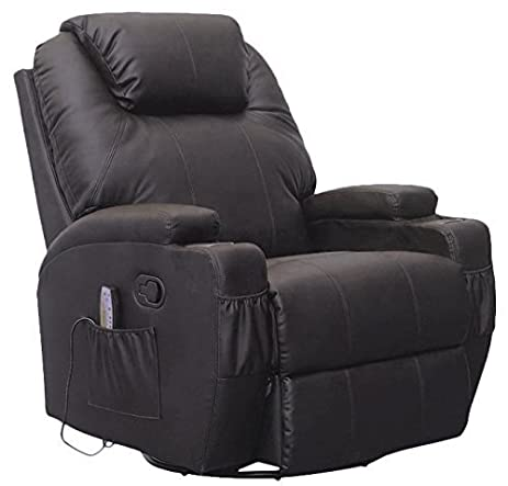 SUNCOO Massage Recliner Leather Sofa Chair Ergonomic Lounge Heated  W/Control 360 Degree Swivel Black