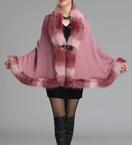 Helan femmes Chaud Style Luxe Manteau en fausse fourrure Cape Cap Cuir Rose