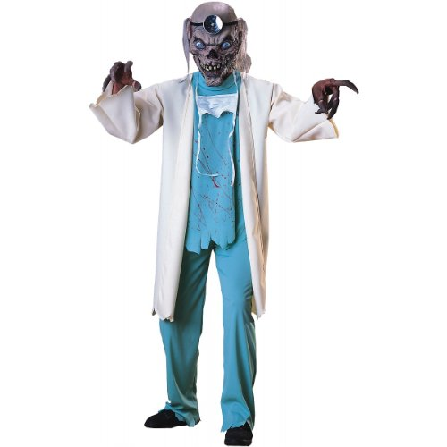 Set includes mask with hair, overcoat with attached shirt and pants. Adult Costume - Standard
