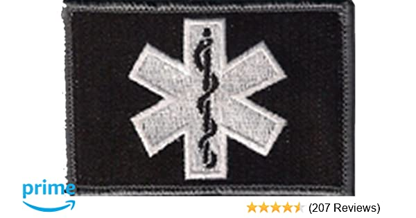 Amazon.com  EMT Star Of Life Tactical Patch - Black White by Gadsden and  Culpeper  Arts 5504444713c