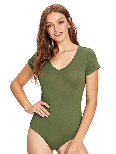 MAKEMECHIC Women's Short Sleeve Tops Basic V-Neck Leotard Bodysuit Lingerie Army Green L