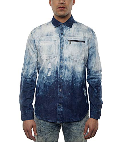 Sean John Mens Denim Tie-Dyed Button Down Shirt Blue 2XL