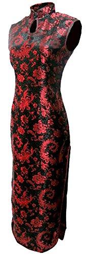 7Fairy Women' Black/Red Phoenix Tail Long Vtg Chinese Dress Cheongsam Size 2 US by 7Fairy