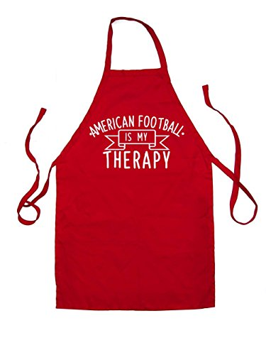 Dressdown Americanfootball Is My Therapy - Kids Unisex Fit Apron - Red - 3-6 Years