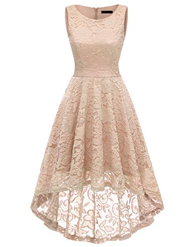 DRESSTELLS Women's Homecoming Vintage Floral Lace Hi-Lo Cocktail Formal Swing Dress Dress Champagne XL by DRESSTELLS