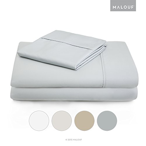 MALOUF Woven 600 Thread Count Luxurious Feel Soft Cotton Blend Sheet Set with Deep Pocket Design - Split Cal King - Ash ()