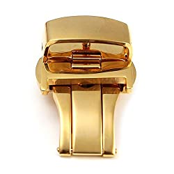 Watch Clasp - Sodial(r) Deployment Butterfly Clasp Watch Buckle Stainless Steel Leather Strap Band£¨16mm Gold£©