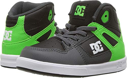 DC Shoes DC Youth Rebound Skate Shoes, Green/Grey/White, 5 M US Toddler
