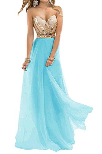 Blau Ivydressing Promkleid Lang Linie Damen Steine Chiffon Beliebt A Ausschnitt Festkleid Herz Abendkleid qq7Ta