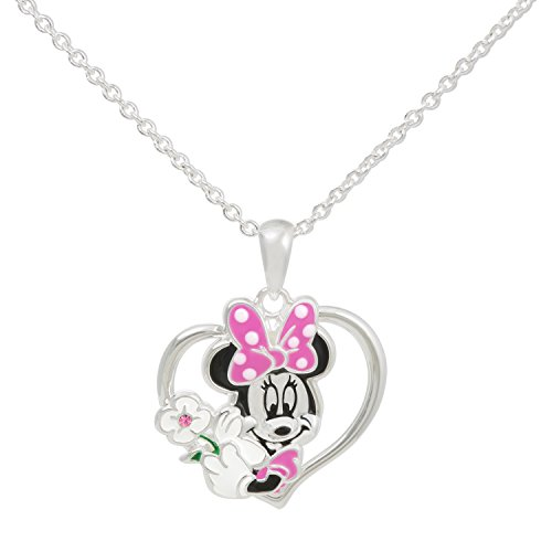 Disney Minnie Mouse Heart Silver Plated Crystal Pendant Necklace, 18
