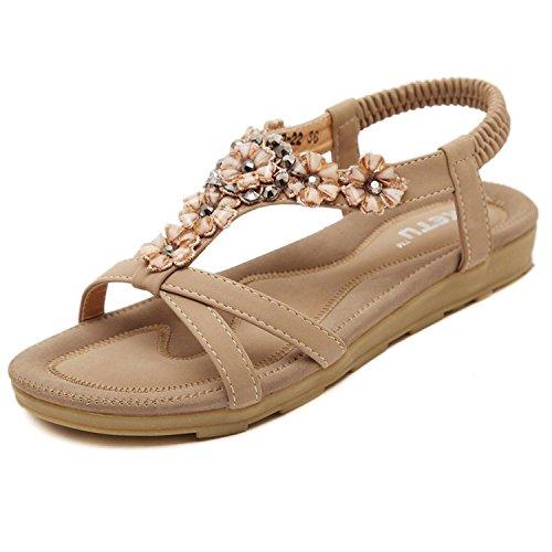 Minetom Frauen Mädchen Sommer Sandalen Strandschuhe Folk-Stil Mit Strass Peep Toe Pantoffeln Khaki