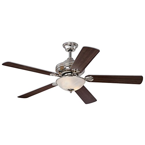 7200000 Anderson Two-Light 52-Inch Reversible Plywood Five-Blade Indoor Ceiling Fan, Polished Nickel with White Alabaster Glass Bowl