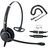 TruVoice HD-100 Professional Single Ear Noise Canceling Office/Call Center Headset with U10P Bottom Cable Works with Mitel, Nortel, Avaya Digital, Polycom VVX, Shoretel, Aastra, Fanvil + Many More