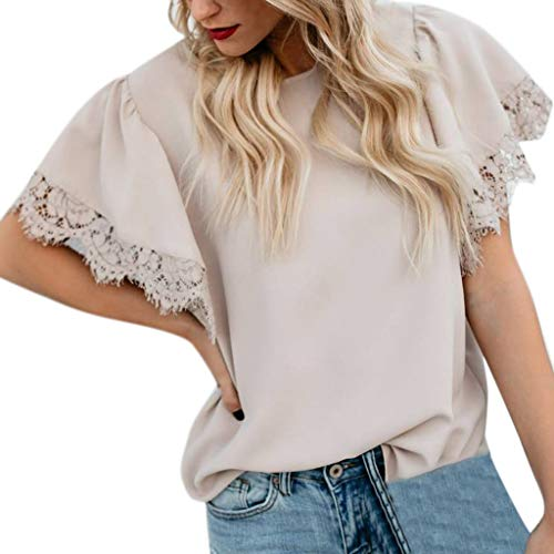 vermers Womens Sexy Lace Patchwork Short Sleeve T Shirts Tops Summer Casual Solid Insert Ruffle Front Pleated Blouse(S, Pink1)