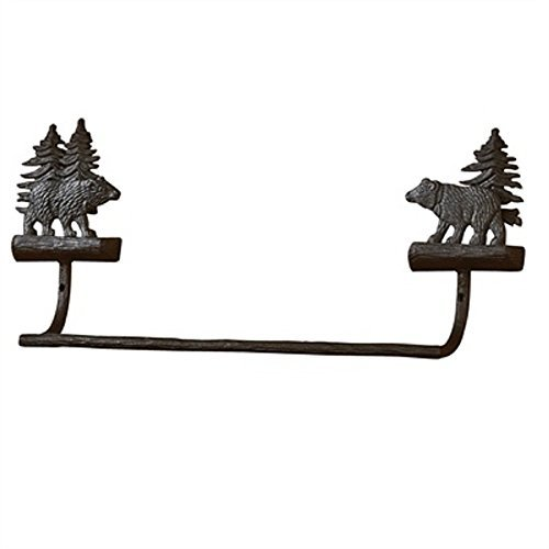 Park Designs Cast Black Bear 9 Inches Height x 16 Inches Width x 3.75 Inches Depth Aluminum Towel Bar Home Decor