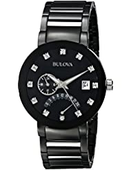 Bulova Mens 98D109 Diamond-Accented Black Stainless Steel Watch