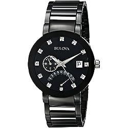Bulova Men's 98D109 Diamond-Accented Black Stainless Steel Watch