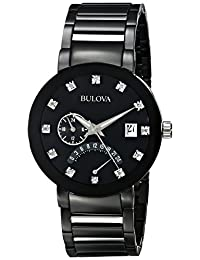 Bulova Men's Diamond Accented Dial Bracelet Watch Black 98D109