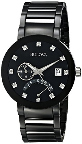 Bulova Chronograph Black Dial Watch (Bulova Men's 98D109 Diamond-Accented Black Stainless Steel Watch)