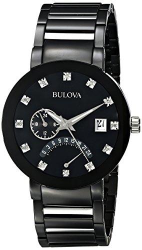 Bulova Men's 98D109 Diamond-Accented Black Stainless Steel W...