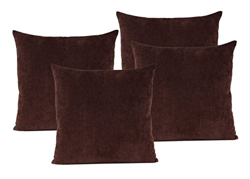 baibu corduroy decor throw pillow cover 19 colors available solid pillow case for sofa set of 4 dark brown