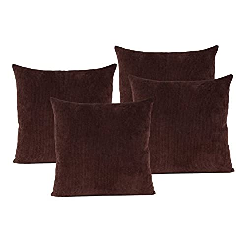 Baibu Corduroy Decor Throw Pillow Cover (19 Colors Available) Solid Pillow  Case For Sofa Set Of 4 Dark Brown