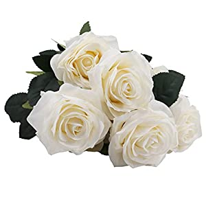 IPOPU Artificial Flowers 10 Heads Silk Rose with Stem Fake Flower for Bridal Bouquet Wedding Living Room Table Home Party Decorations 50