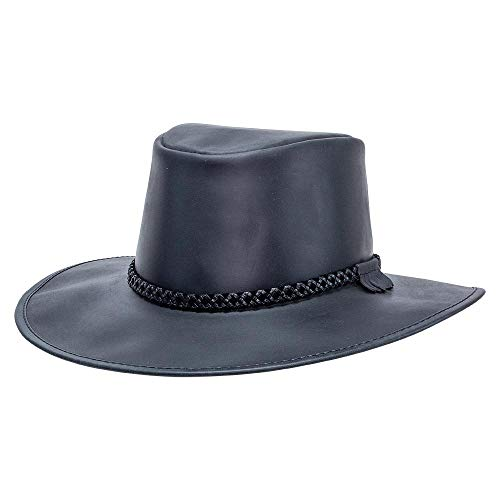 (American Hat Makers Crusher by American Outback Leather Hat, Black Finished - 3X-Large)