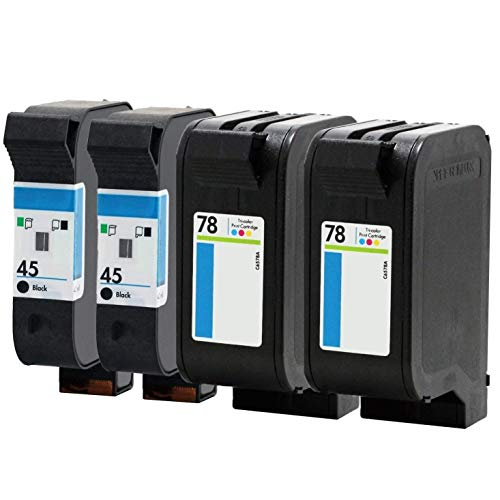 Tyjtyrjty 4X (2 Black, 1 Tri-Color) Compatible for HP 45 78 Ink Cartridge 78A 45A 51645A C6578A for Deskjet 1120c 1125c 1180c 1220c 1280 1600c 6122 9300 930c 932c 935c ()