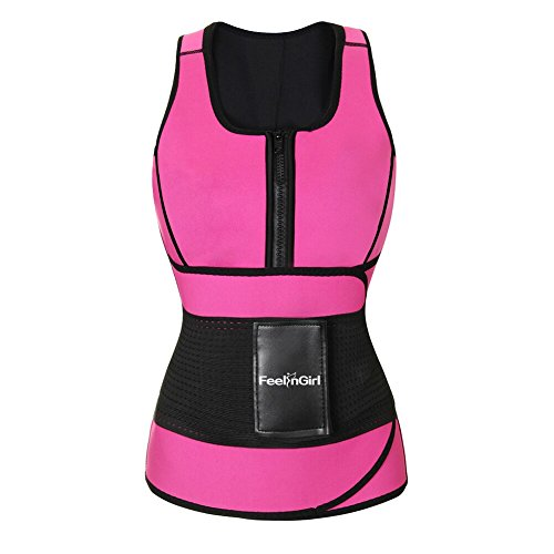FeelinGirl Neoprene Sauna Suit Tank Top Vest with Adjustable Waist Trimmer Belt 3XL Rose Red -