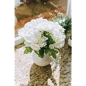 "Flora Bunda Artificial Flowers Faux Plant 11.5"" Tall White Peony in Ceramic Pot,White Peony 11.5"" 3"