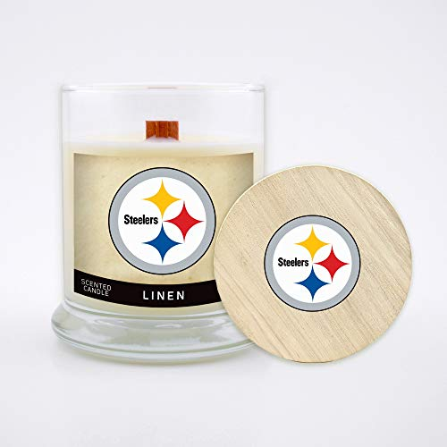 Pittsburgh Nfl Steelers Candle (Worthy Promo NFL Pittsburgh Steelers Linen Scented Soy Wax Candle, Wood Wick and Lid, 8 oz (Renewed))