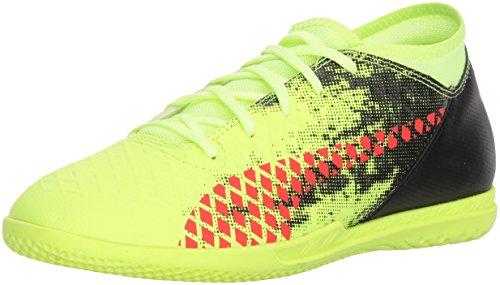 PUMA Unisex-Kids Future 18.4 Soccer-Shoes, Fizzy Yellow-Red Blast-Puma Black, 1 M US Little Kid