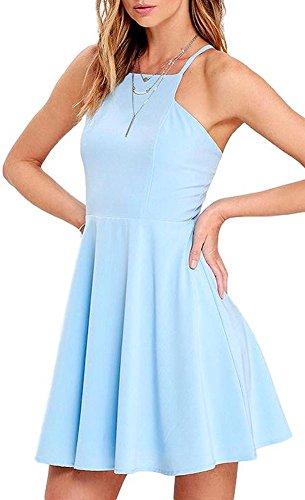 Seamed Shift Dress (BomDeals Women's Cute Spring Midi Sleeveless Swing Shift Light Blue/Light Blue Wedding Skater Dress(Light Blue,S))