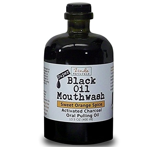 Black Oil Mouthwash for Oil Pulling. Sweet Orange-Cinnamon Spice w/ activated charcoal & xylitol. 13 oz Glass Bottle. Use for teeth whitening, dry mouth, bad breath, and more.