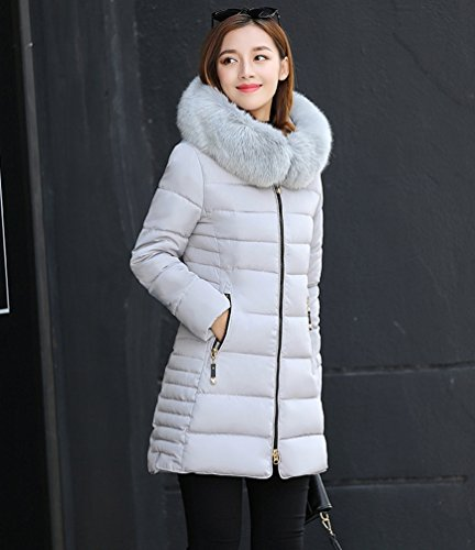 Down Fit Coat Gray Coat Hooded Women Long NiSeng Jacket Padd Fur Winter Long Down Warm Collar Silm Cotton S0qwE