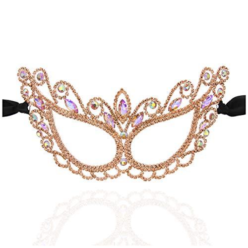 Vogue Rhinestone Masquerade Venetian Mask in Rose Gold