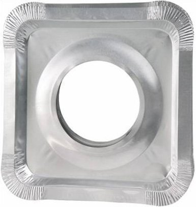 "Top Heavy Duty Gas Range - Aluminum Foil Square Gas Stove Burner Covers – Pack of 100 – Disposable Bib Liners for Kitchen Gas Range Top - Keep Your Gas Range Clean with DCS Deals Drip Pans - 8.5 x 8.5 x .5"" Inch"