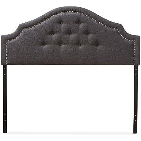 Baxton Studio Franchot Modern Contemporary Fabric Upholstered Headboard Queen Dark Grey