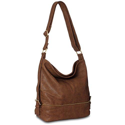 CASPAR TS732 große Damen Umhänge Tasche, Farbe:braun