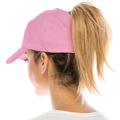 Trendy Apparel Shop Plain Ponytail Adjustable Cotton Baseball Cap