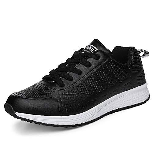 ZHZNVX Zapatos de Mujer de Piel sintética Primavera/Otoño Comfort Sneakers Flat Heel Round Toe Blanco/Negro / Melocotón Black