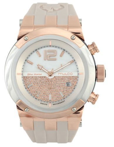 MULCO Unisex MW5-1621-113 Stainless Steel and Rose-Tone Watch with Beige Silicone Band