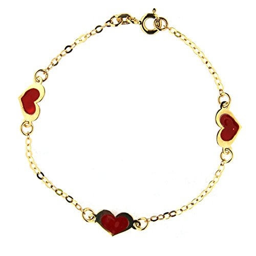 18K Yellow Gold Red enamel bracelet 6 inches with extra ring in 5 inches by Amalia