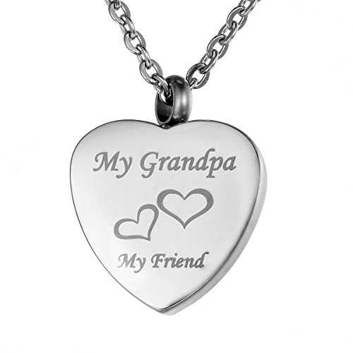 VALYRIA Stainless Steel Heart My Grandpa My Friend Charm Memorial Necklace