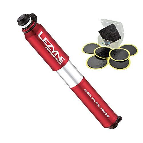 LEZYNE Pressure Drive Bike Hand Pump Presta and Schrader Valve Compatible (Red, Medium) Bundle with a Lumintrail Glueless Patch Kit