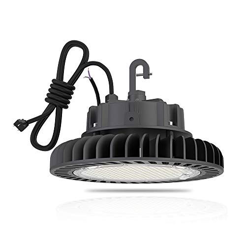 Hyperlite UFO-HERO-150W-4000K LED UFO High Bay Lighting Lamps 150W 4000K Daylight 21,000lm 1-10V Dimmable 5 Cable with 110V Plug Hanging Hook Safe Rope UL/DLC Approved for Factory Warehouse Barn