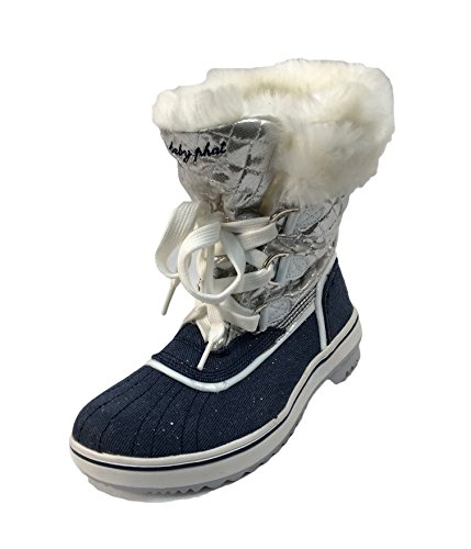 Insulated Boots Women's Baby Lace up Fur Trim Winter Phat Low Blue White Faux With qg005xZwt