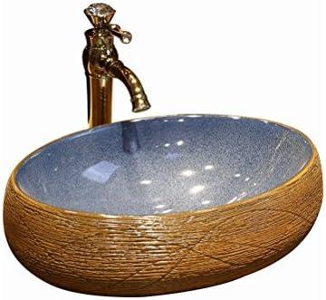Minmin 浴室のシンクアンティークアートセラミック洗面台オーバル洗面台の浴室の蛇口セット、45×33×15センチ 芸術流域